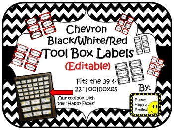 Toolbox Labels (Editable) ~ Black/White/Red Chevron Print