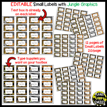 Toolbox Labels (Editable) ~ Jungle/Safari Theme