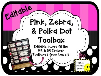 Toolbox Labels (Editable) ~ Pink, Black and White Polka Dot, and Zebra Print