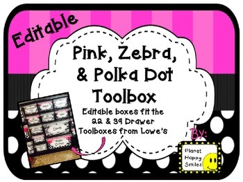 Toolbox Labels (Editable) ~ Pink, Black and White Polka Do