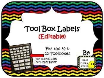 Toolbox Labels (Editable) ~ Rainbow Chevron Print with black bkgd