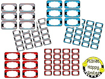 Toolbox Labels (Editable) ~ Red, White & Blue Chevron
