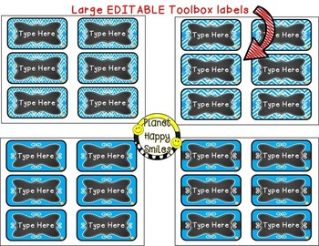Toolbox Labels (Editable) Teal and Chalkboard Theme