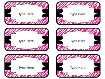 Toolbox Labels (Editable) ~ Zebra Print