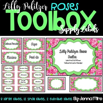 Toolbox Labels-Lilly Pulitzer Roses