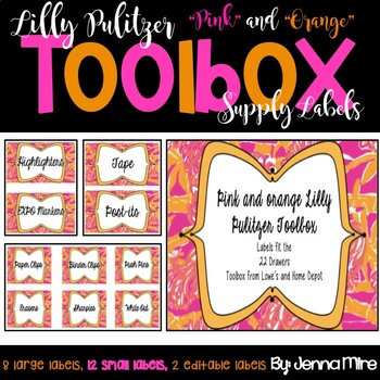 Toolbox Labels-Pink and Orange Lilly Pulitzer