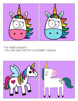 Toolbox Labels Unicorns (EDITABLE)