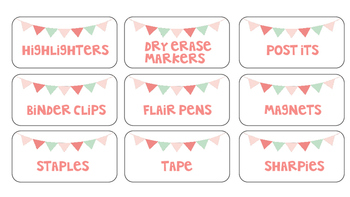 Toolbox Labels with Rustic Pennant Flags