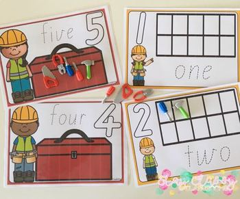 Toolbox Playdough Number Mats