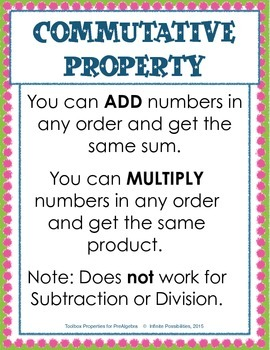 Toolbox Properties for PreAlgebra Study Cards