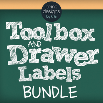 Toolbox and Drawer Labels BUNDLE - DAYS, SUBJECTS, TOOLBOX - Chalkboard Design