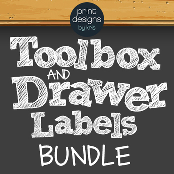 Toolbox and Labels BUNDLE DAYS, SUBJECTS, TOOLBOX - BLACK Chalkboard Design