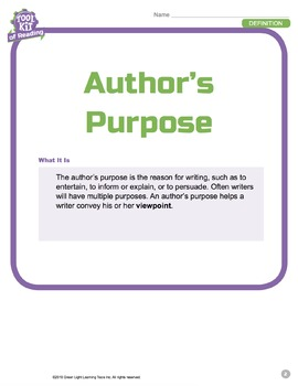 Toolkit of Reading: Author's Purpose