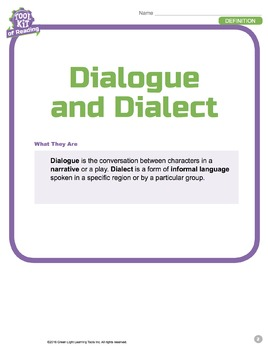 Toolkit of Reading: Dialogue and Dialect