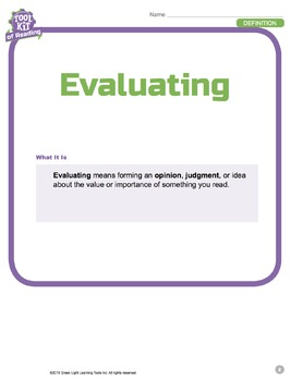 Toolkit of Reading: Evaluating