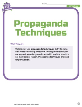 Toolkit of Reading: Propaganda Techniques