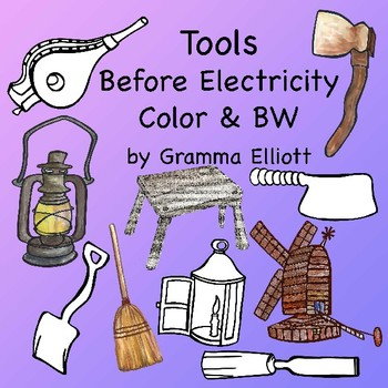 Tools Before Electricity - Color and BW - Clip Art