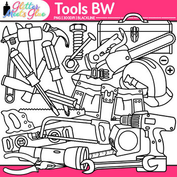 Tool Clip Art {Build STEM Resources, Construction Toolbox for Science} B&W