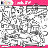 Tool Clip Art | Build STEM Resources, Construction Toolbox for Science B&W