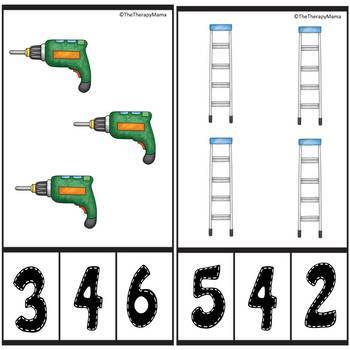 Tools Counting Number Clip Cards 1 - 20 No prep Math Center Cards ABA Autism