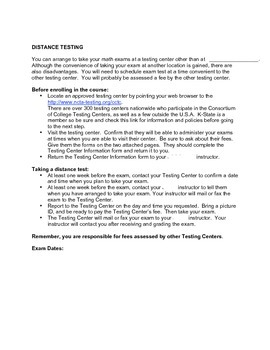 Tools: Distance Testing Form for Online Learners