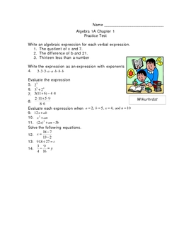 Tools of Algebra Pretest