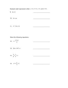 Tools of Algebra Test