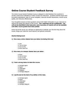 Tools:  Online Class Survey