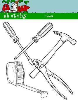 Tools / Power Tools / Construction Clipart 300dpi Black and White - Transparent