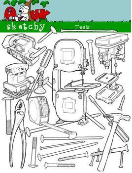 Tools / Power Tools / Construction Clipart 300dpi Black an