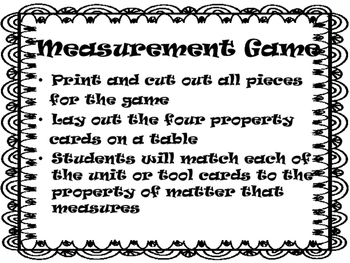 Tools and Units of Measurement Sort Game