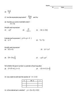 Tools for Algebra Success