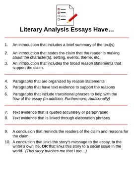 Tools for Writing Literary Analysis Essays