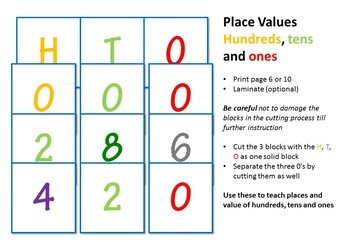 Tools for teaching Sums, Place Values and Factions