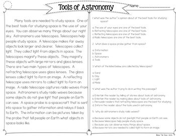Tools of Astronomy {Differentiated Close Reading Passages & Questions}