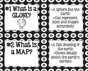 Tools of Geography Task Cards and Recording Sheet - Black and White Papers