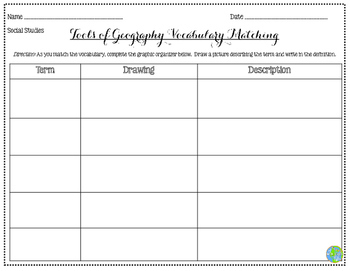 Tools of Geography Vocabulary Matching Activity - Bright Chevron