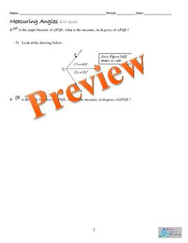 Tools of Geometry Bundle Homework, Quiz Exit Ticket Graphic Org. Online Resource