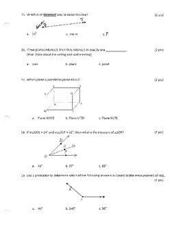 Tools of Geometry Exam and Answer Key