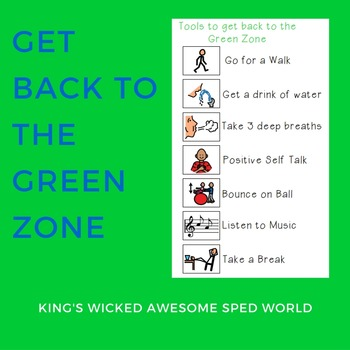 Zones of Regulation - Tools to Get Back to the Green Zone