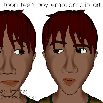 Toon Teen Boy 1 Emotions Clip Art Over 25 Commercial Use OK