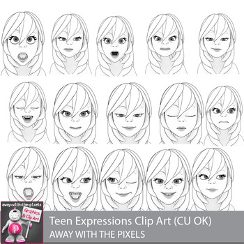 Toon Teen Girl 1 Emotions Expressions Clip Art  Commercial Use OK