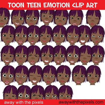 Toon Teen Girl 2 Emotions Clip Art Over 25 Commercial Use OK