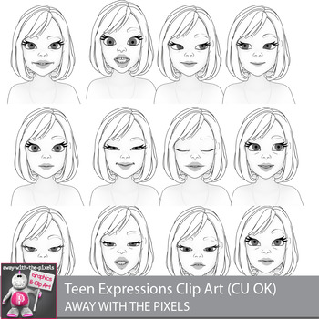 Toon Teen Girl 2 Emotions Expressions Clip Art  Commercial Use OK
