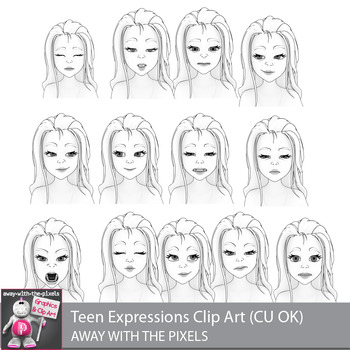 Toon Teen Girl 3 Emotions Expressions Clip Art  Commercial Use OK