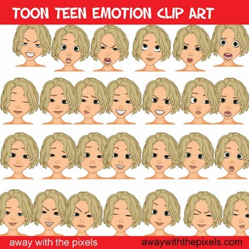 Toon Teen Girl Emotions Clip Art Over 25 Commercial Use OK