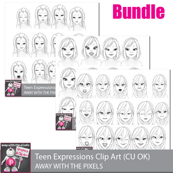 Toon Teenage Girl Emotions Clip Art Bundle Commercial Use OK