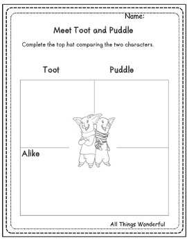 Toot and Puddle Graphic Organizers for Any Book and Writing Activities