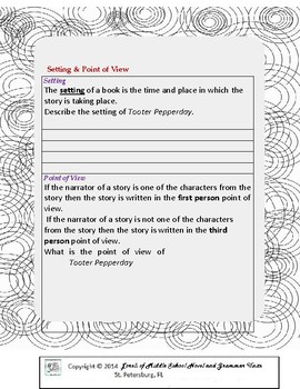 Tooter Pepperday Literature and Grammar Unit