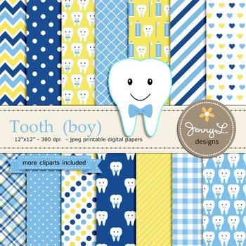 Tooth Boy digital paper and clipart